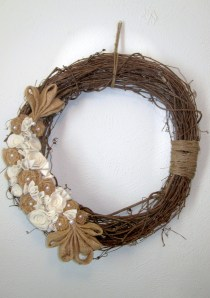 "Grapevine Wreath with burlap and felt rosettes 24""  $40"