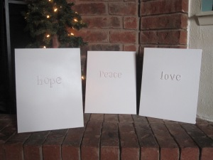 "Peace, Hope, Love 8x10"" solid canvas $15/ea"